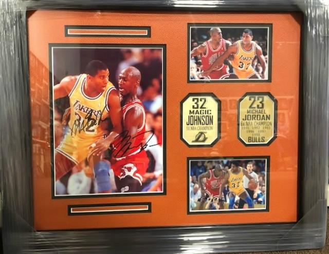 4ea356c2d1f MAGIC JOHNSON   MICHAEL JORDAN NBA LEGENDS SIGNED FRAMED PHOTO COLLAGE  16X20 -  475